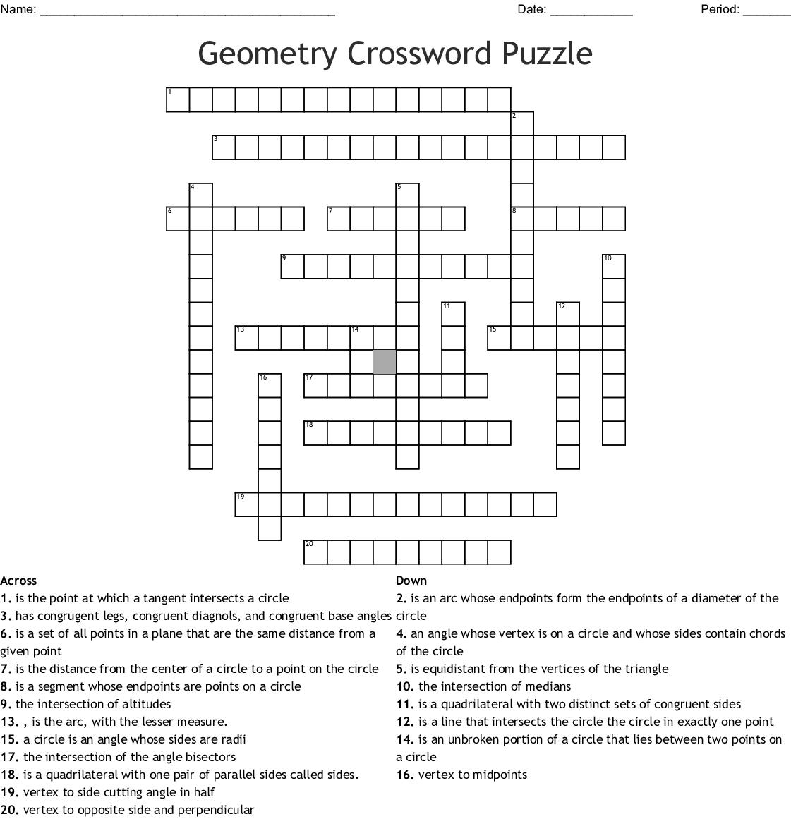 Geometry Crossword! - WordMint