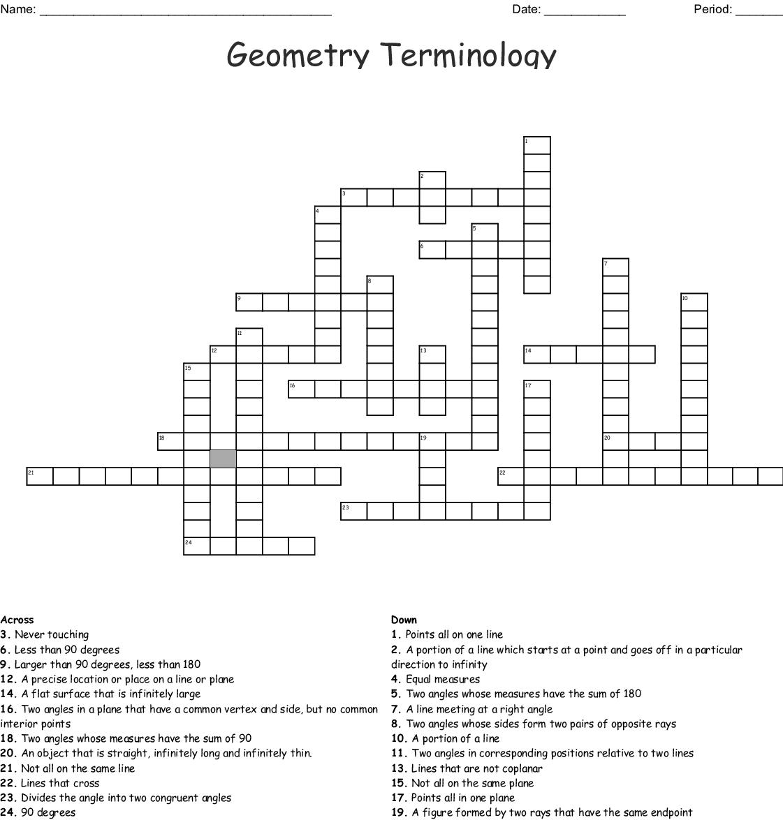 Geometry Terminology Crossword - WordMint