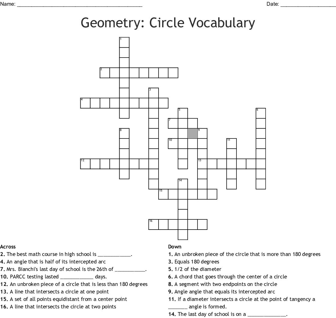 Geometry: Circle Vocabulary Crossword - WordMint