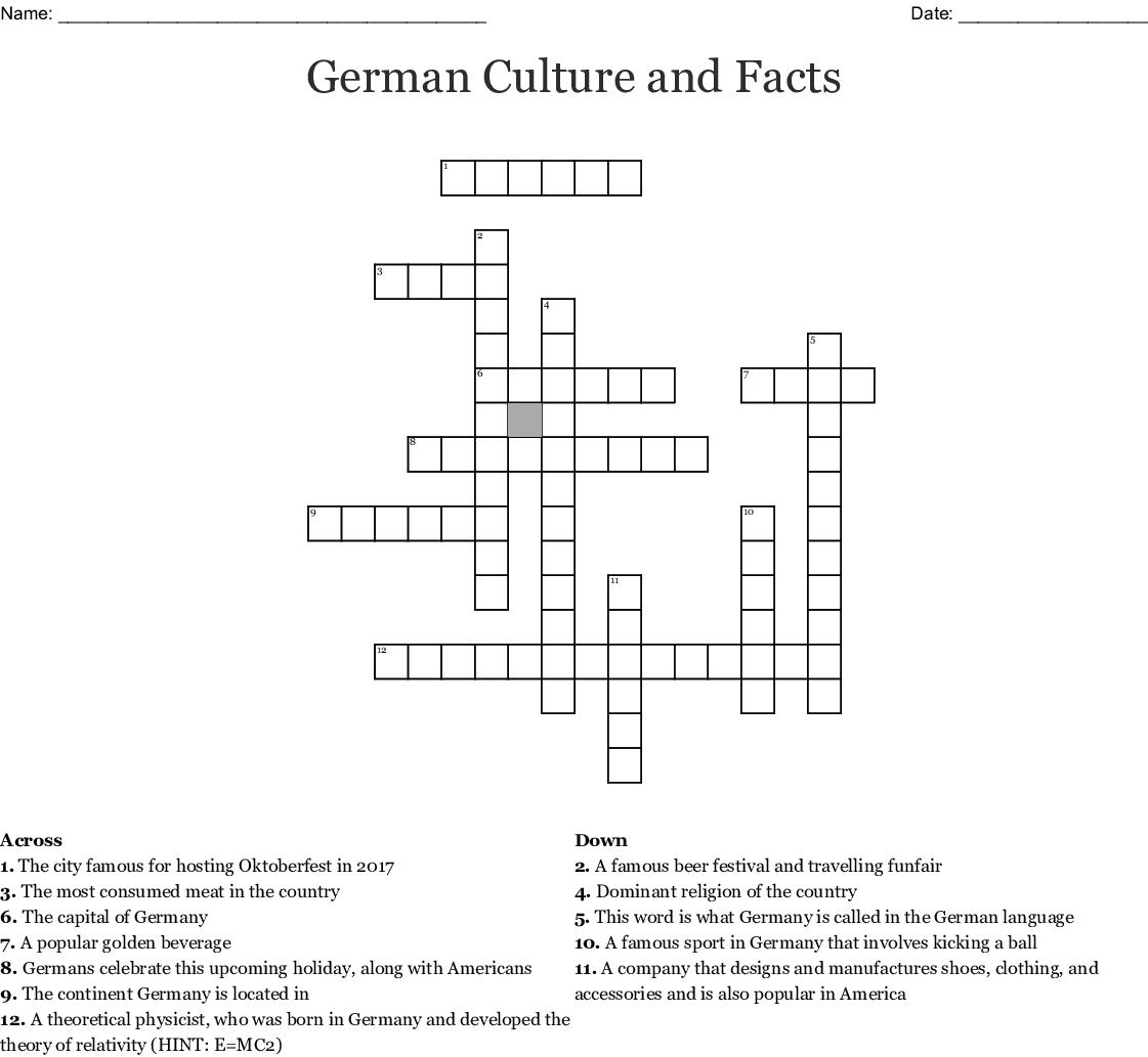 Germany Crossword Wordmint