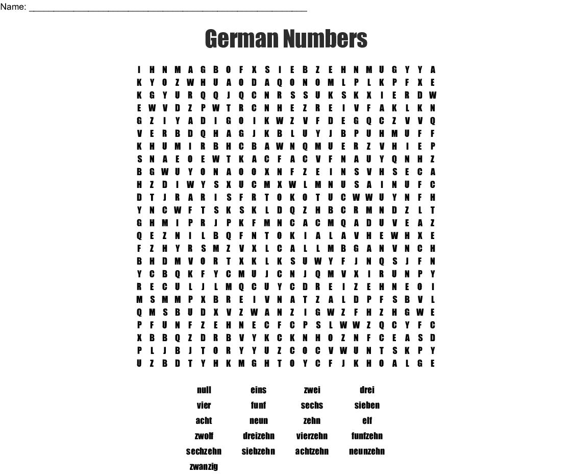 German Numbers Word Search - WordMint
