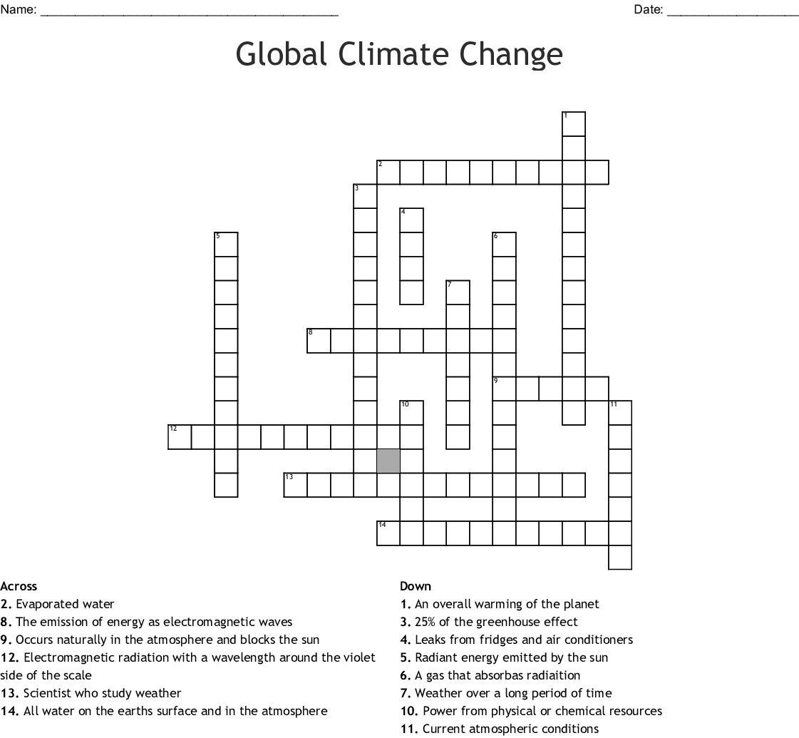 Global Climate Change Crossword - WordMint