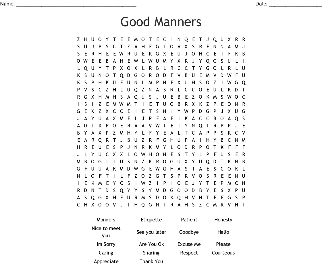 Good Manners Word Search Wordmint