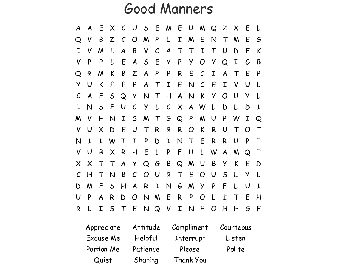 Manners Word Search Wordmint