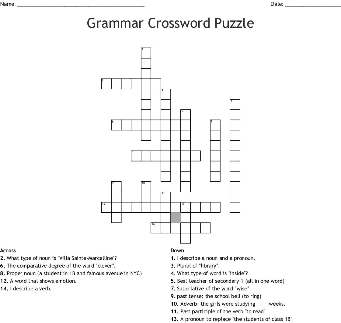 Grammar Crossword Puzzle - WordMint