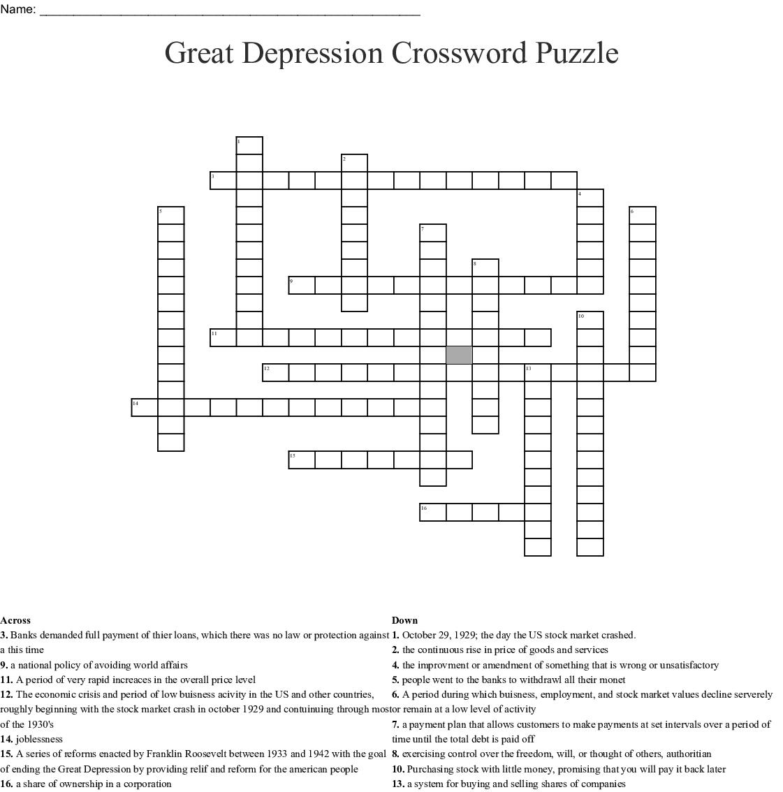Great Depression Crossword Puzzle - WordMint  Installment Plan Great Depression