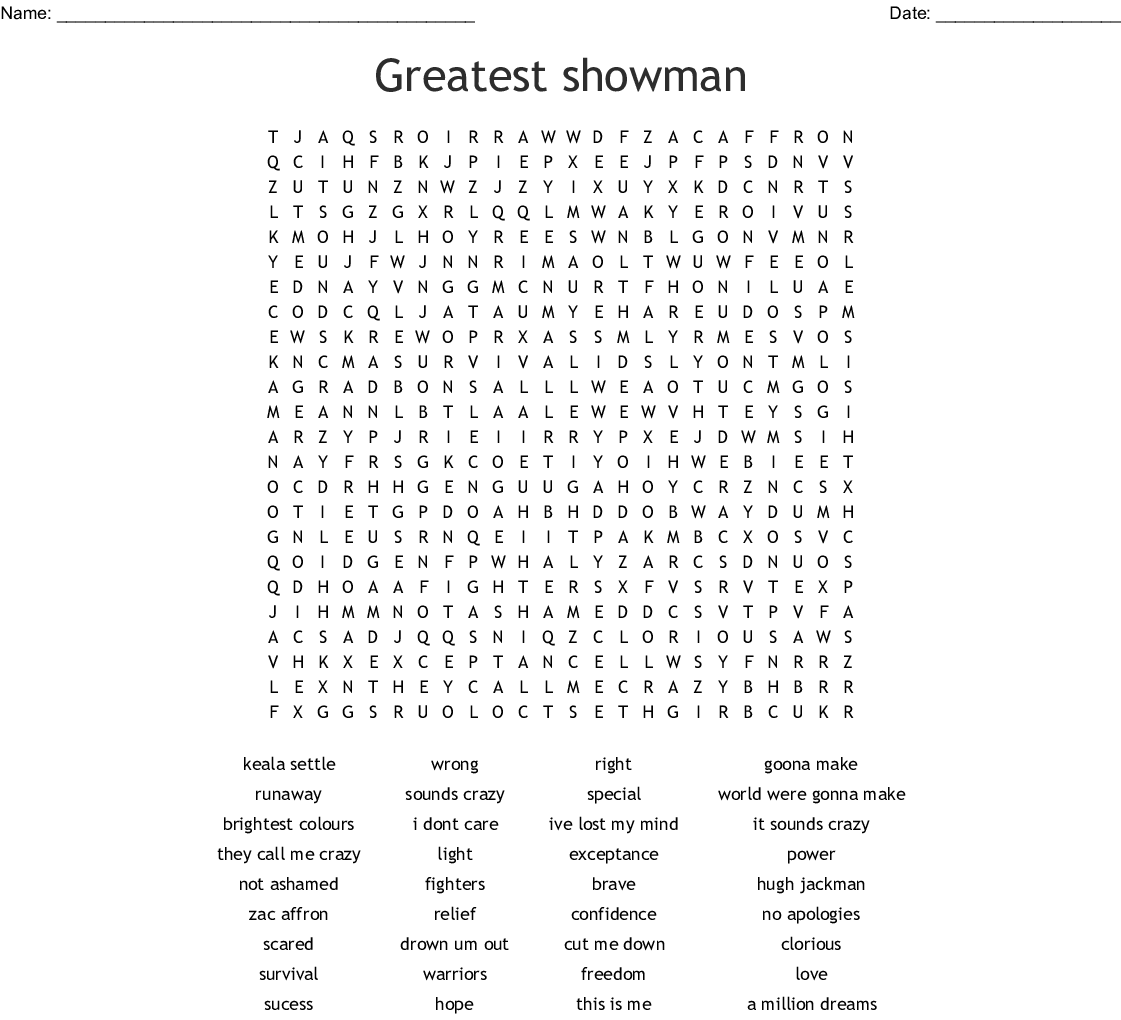 The Greatest Showman Word Search - WordMint