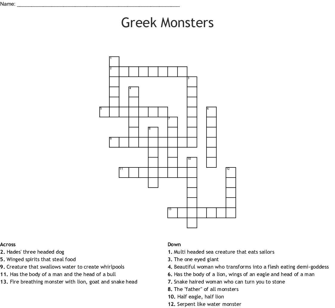 Greek Monsters Crossword Wordmint