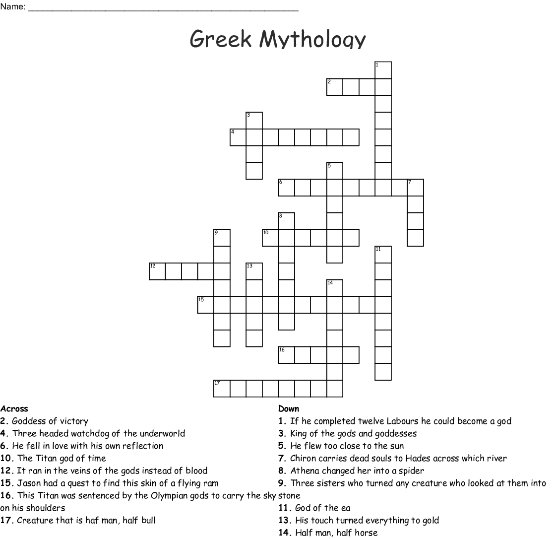Dante's Inferno Crossword - WordMint