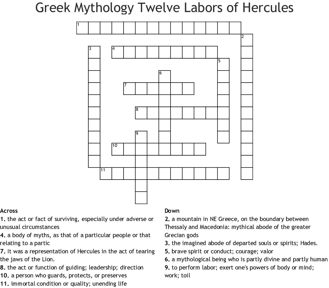 Greek Mythology Twelve Labors of Hercules Crossword - WordMint
