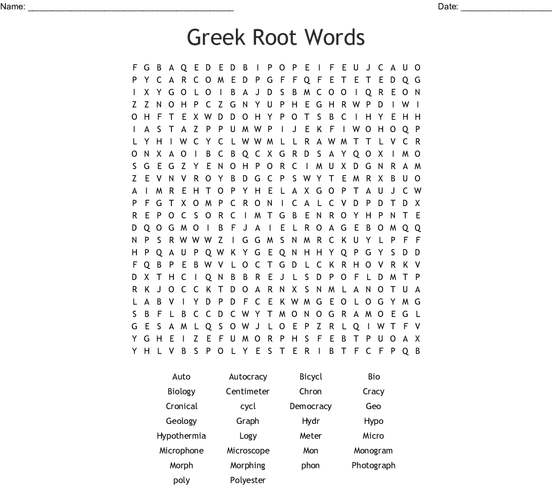 Greek Root Words Word Search - WordMint