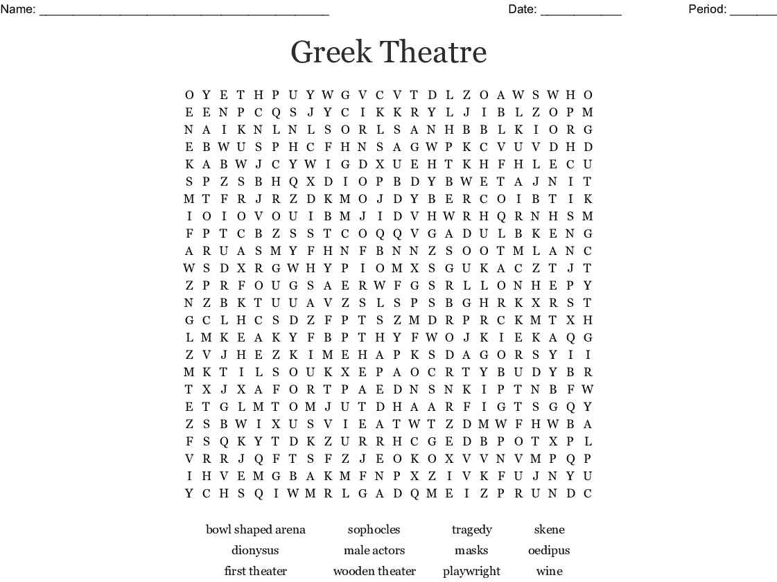 Ancient Greece Word Search Puzzle Key | printable brackets