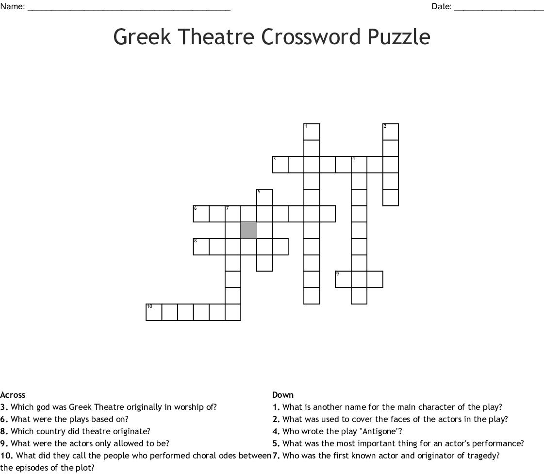 Greek Theatre Crossword Puzzle Wordmint