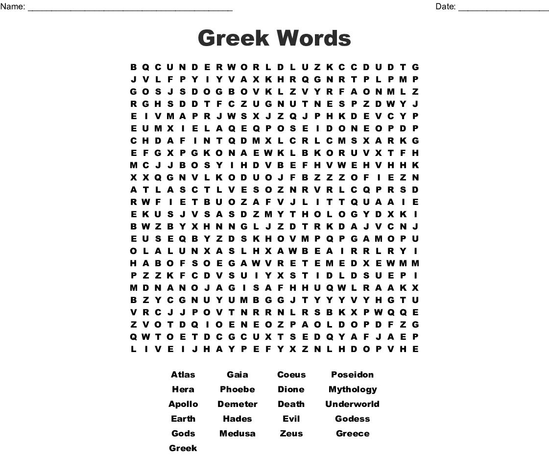 Greek Words Word Search - WordMint