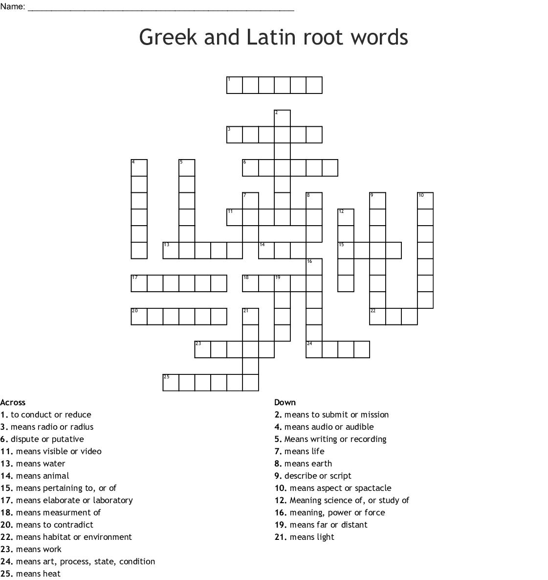 Greek And Latin Root Words Crossword Wordmint
