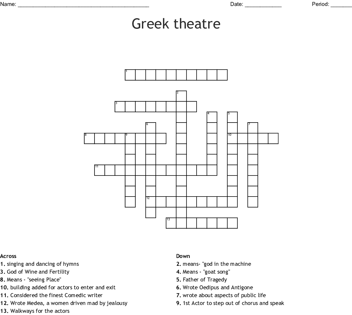 Theatre History Word Search Wordmint