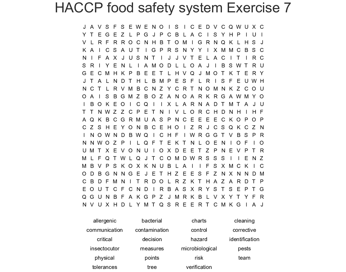HACCP food safety system Exercise 7 Word Search - WordMint