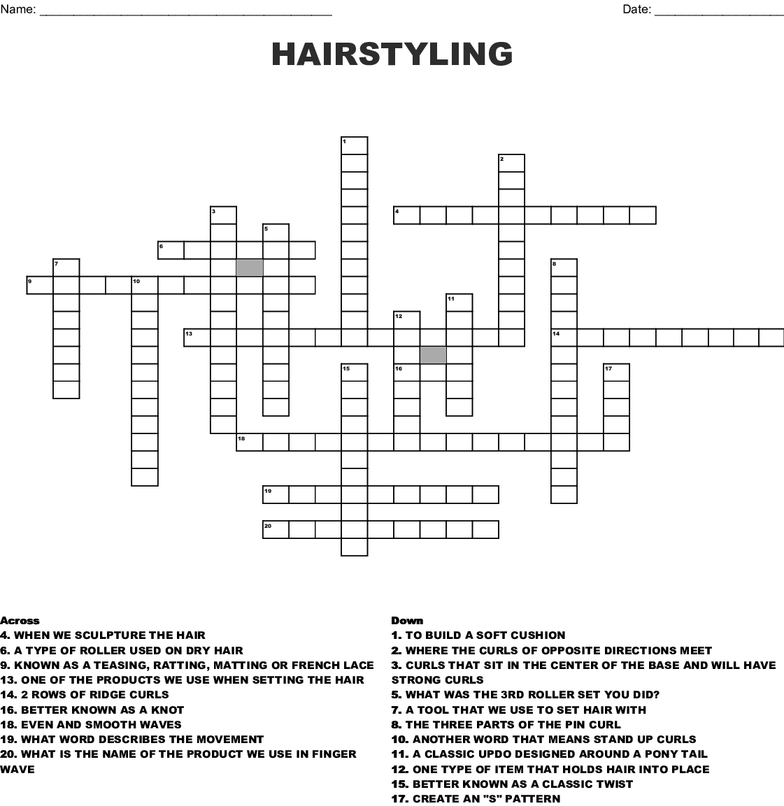 HAIRSTYLING Crossword