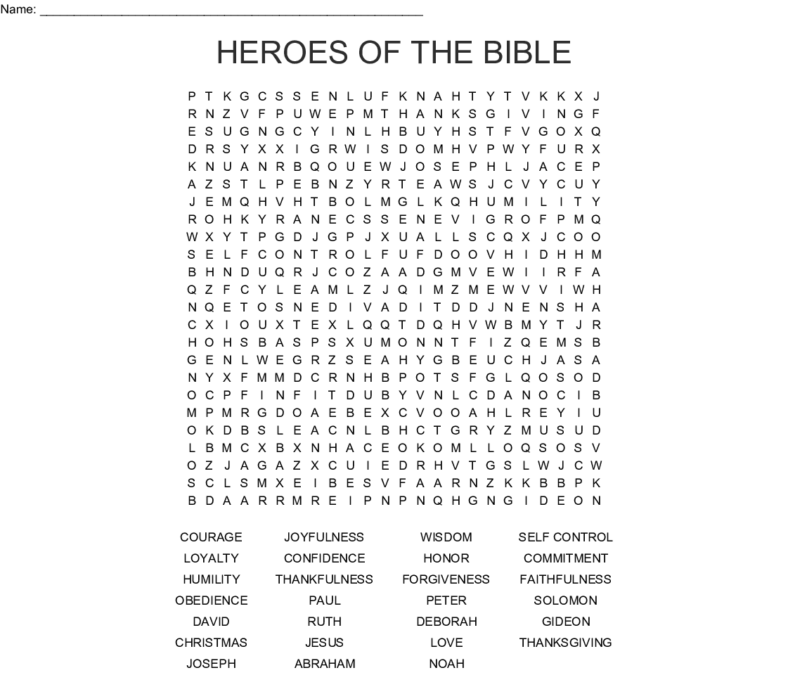 picture about Free Printable Bible Word Search Puzzles identify Heroes of the Bible Term Look - WordMint