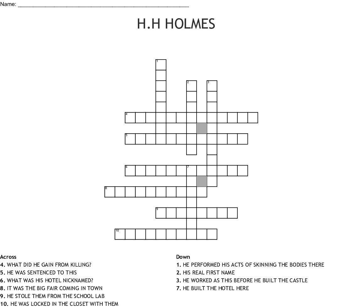 H H Holmes Crossword Wordmint