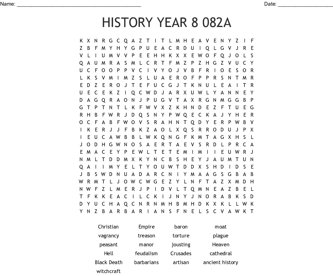 HISTORY YEAR 8 082A Word Search - WordMint