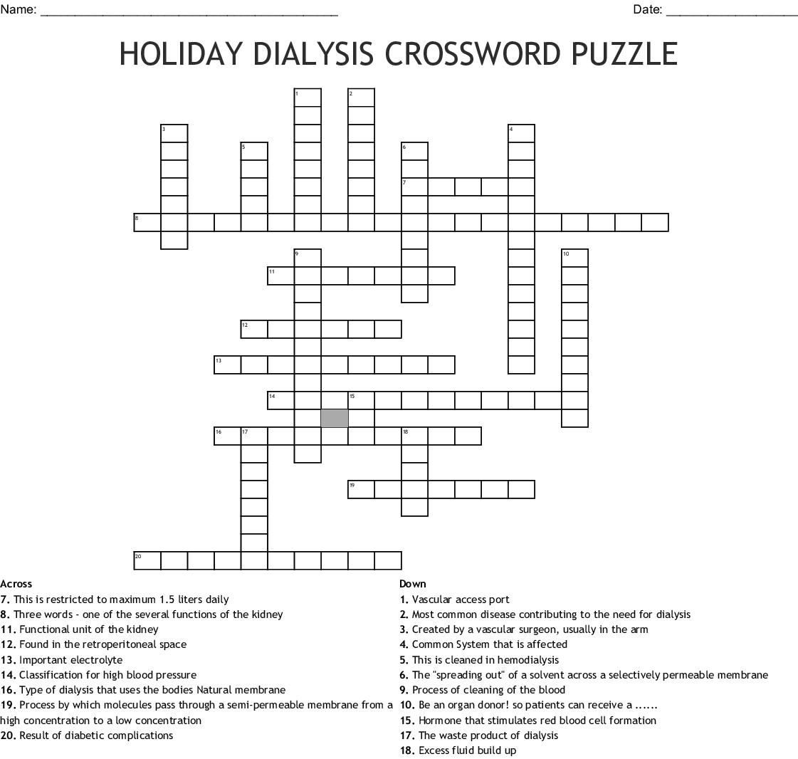 HOLIDAY DIALYSIS CROSSWORD PUZZLE - WordMint