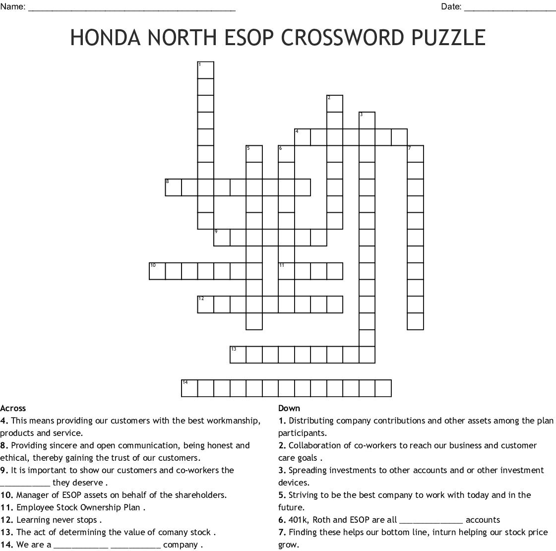 Esop Crossword Puzzle Wordmint