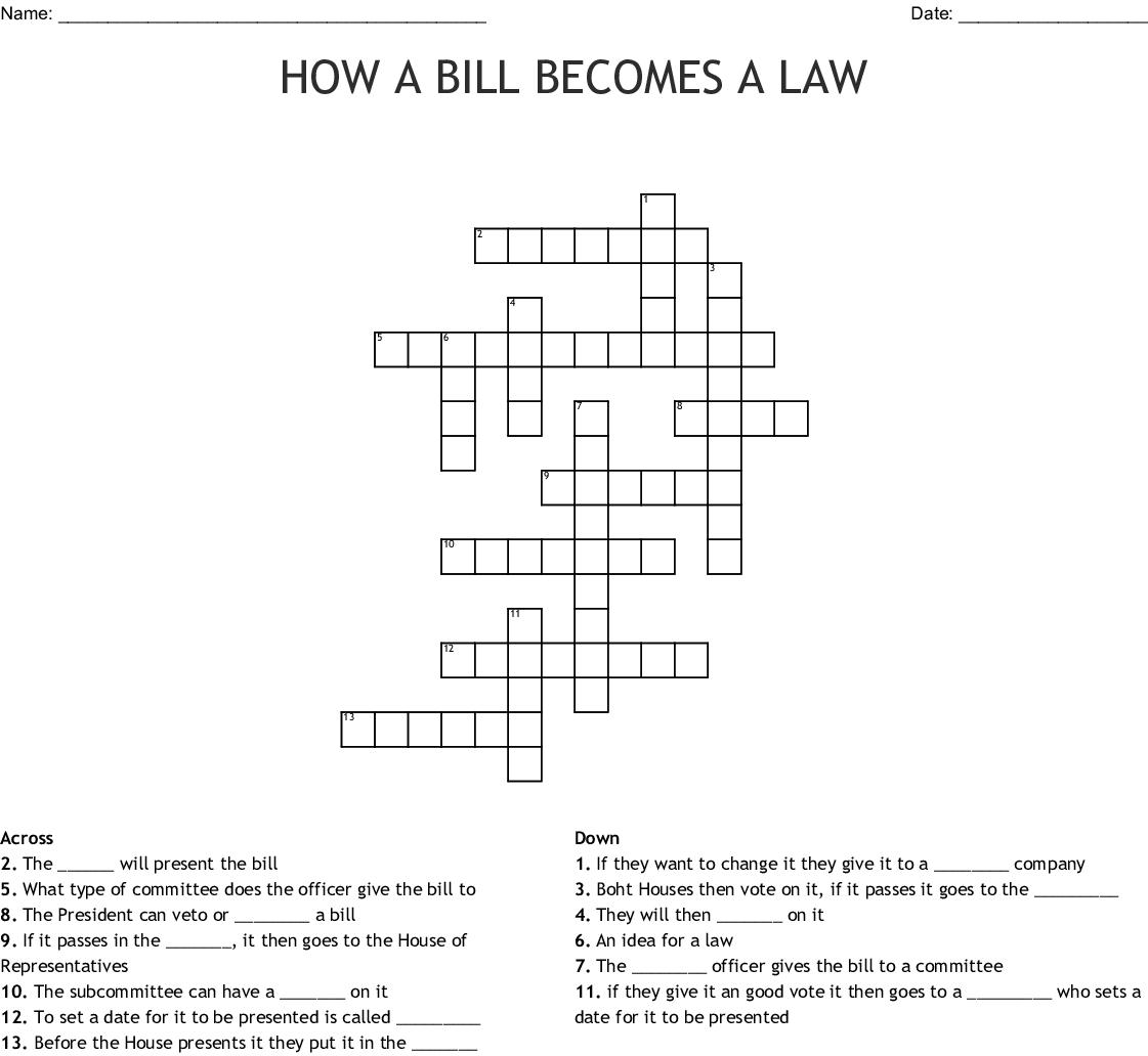 HOW A BILL BECOMES A LAW Crossword - WordMint