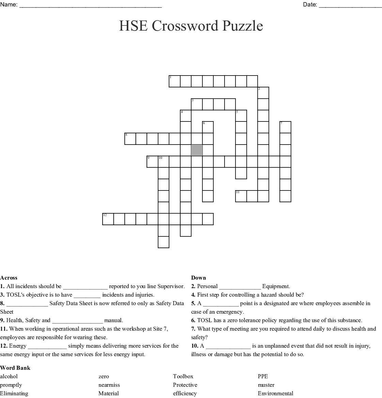 Hse Crossword Puzzle Wordmint