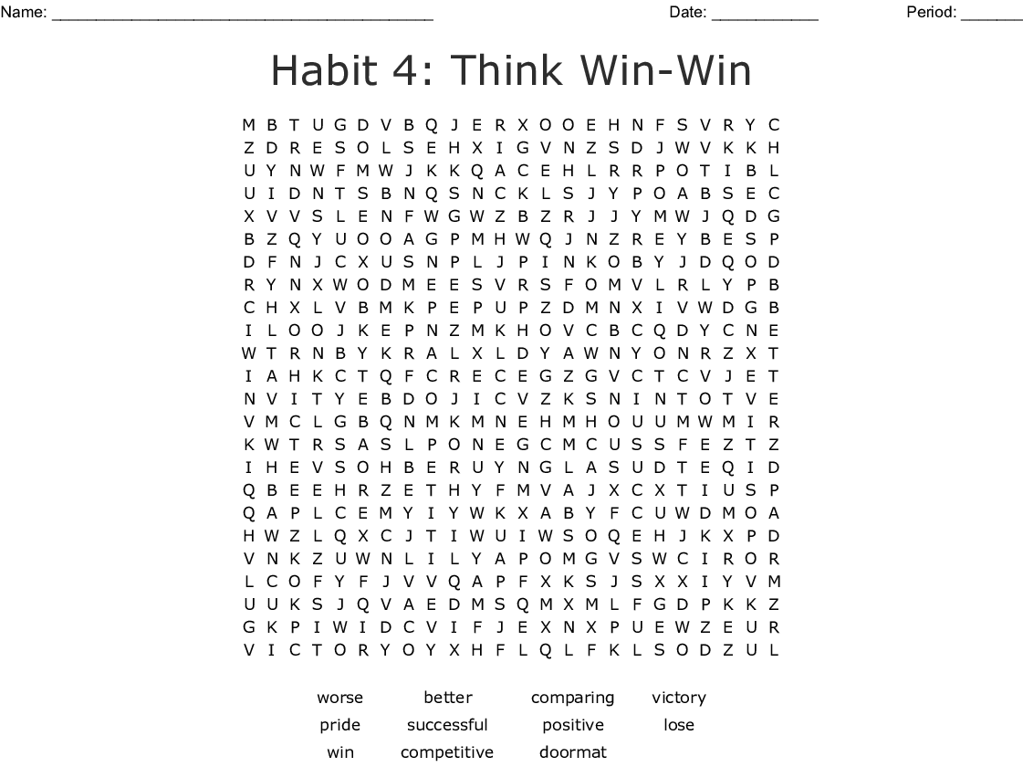 Habit 4-Think Win-win Word Search - WordMint