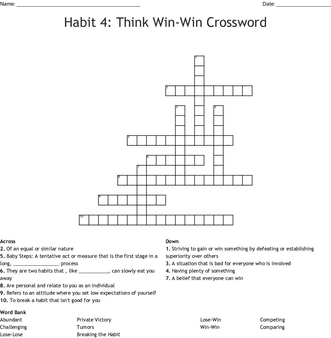 Habit 4 Think Win Win Crossword Wordmint