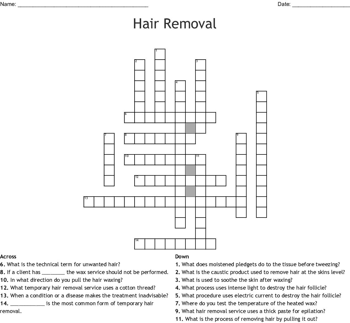 Hair Removal Crossword Wordmint