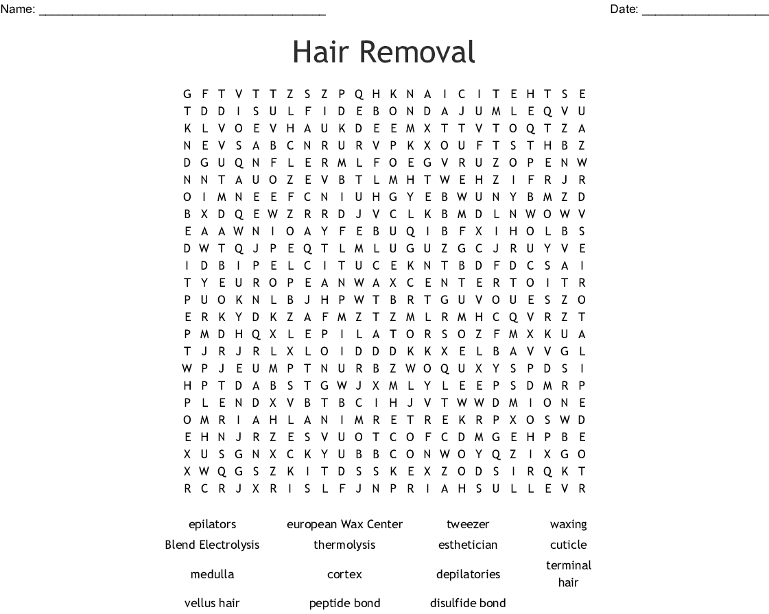 Chapter 11 Hair Removal Word Search Wordmint