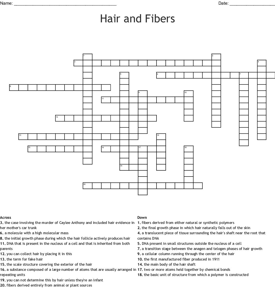 Hair And Fiber Crossword Wordmint
