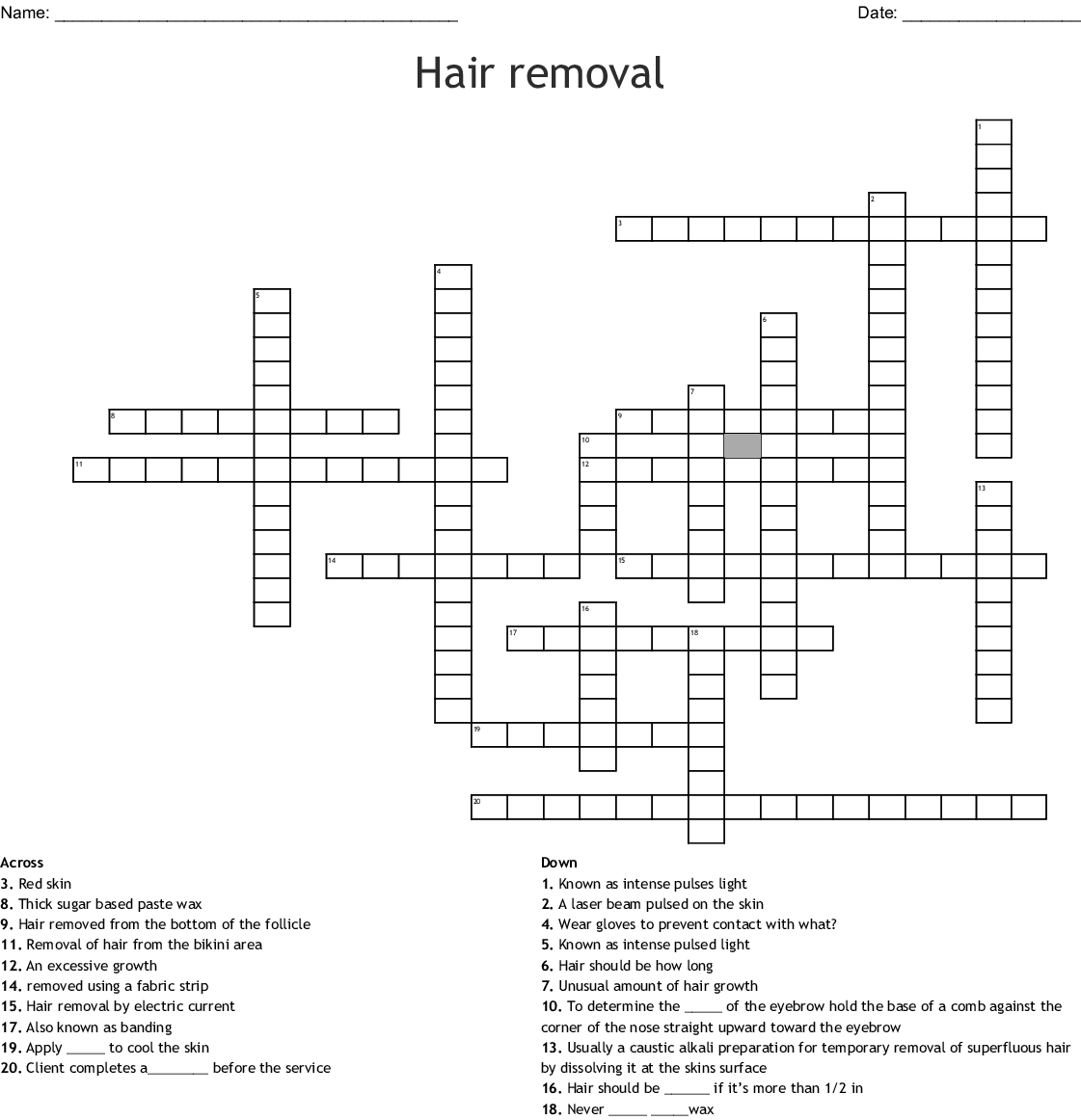 Hair Removal And Makeup Crossword Wordmint