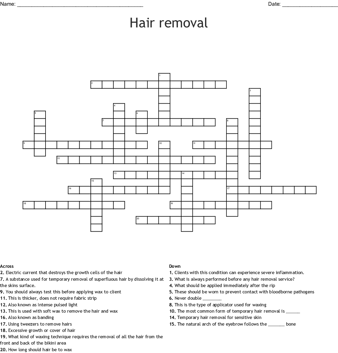 Temporary Hair Removal Word Search Wordmint