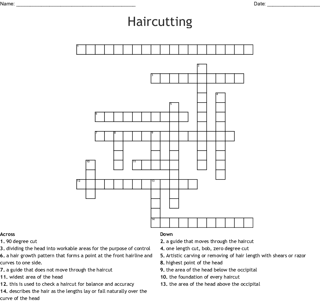 Haircutting Crossword - WordMint on