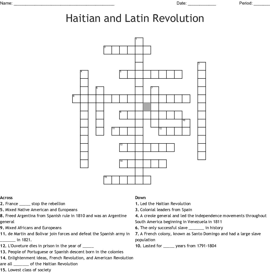 The Haitian Revolution Crossword - WordMint