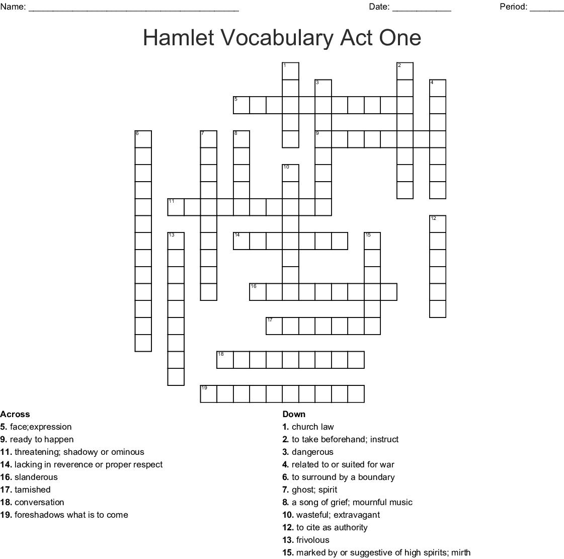 Hamlet Vocabulary Act One Crossword Wordmint