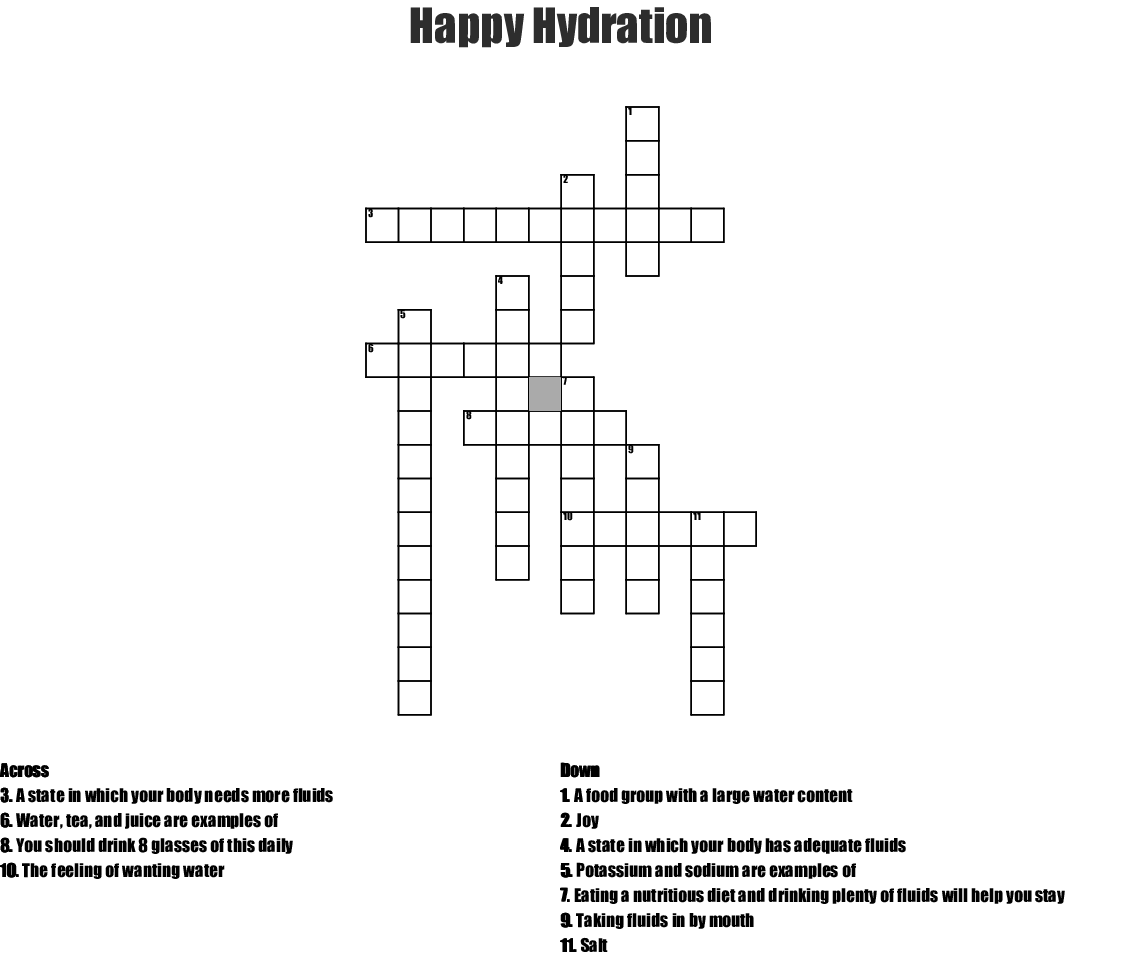 Hydration Crossword Wordmint
