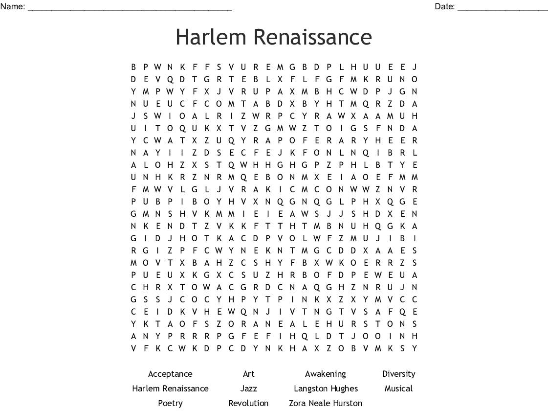 Harlem Renaissance Word Search - WordMint