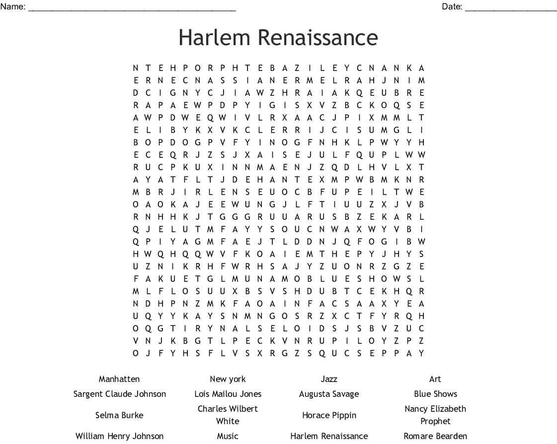 Famous African American Artists Word Search - WordMint