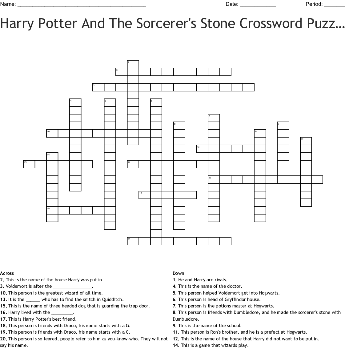 photograph about Harry Potter Crossword Puzzle Printable known as Harry Potter and The Sorcerers Stone Crossword - WordMint