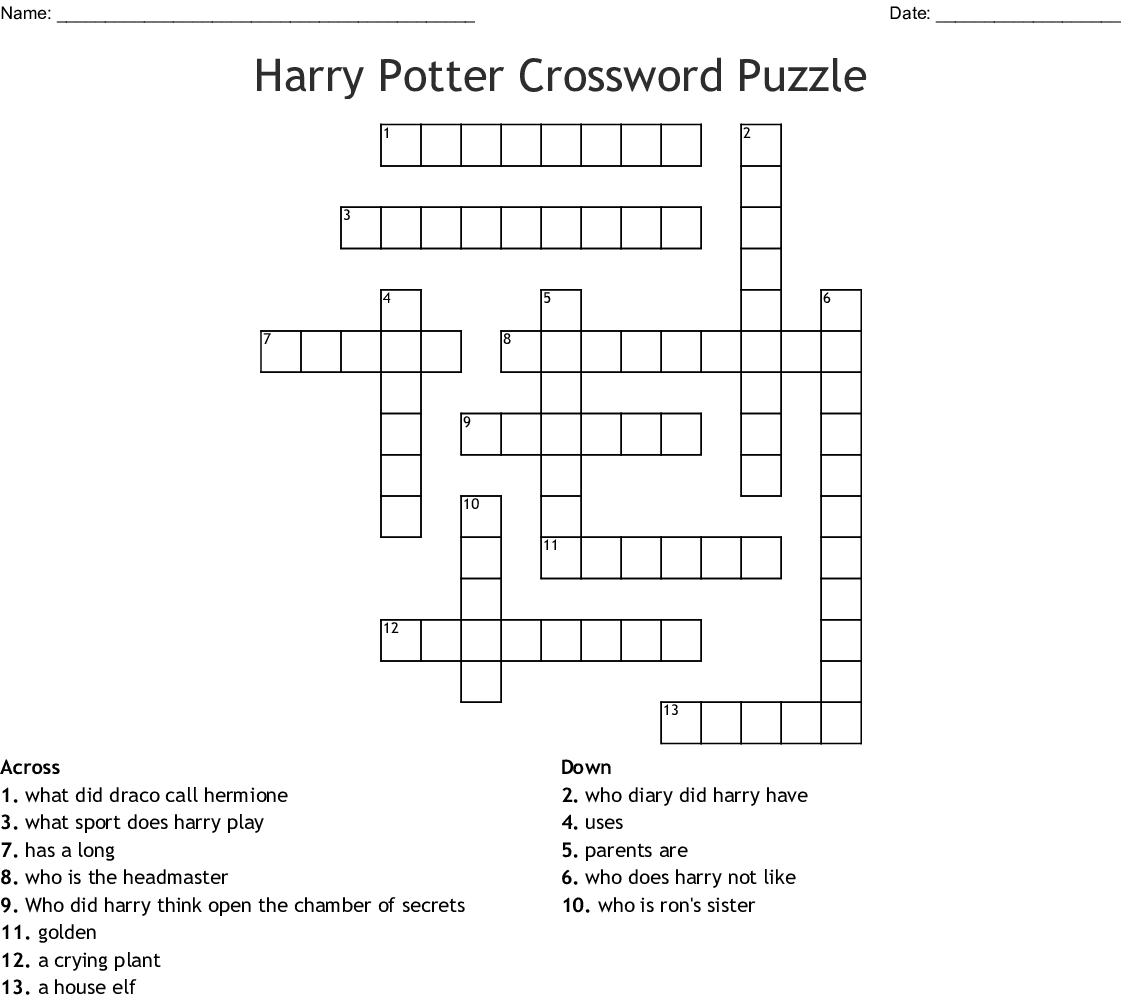 picture relating to Harry Potter Crossword Puzzle Printable identify Harry Potter Crossword Puzzle - WordMint