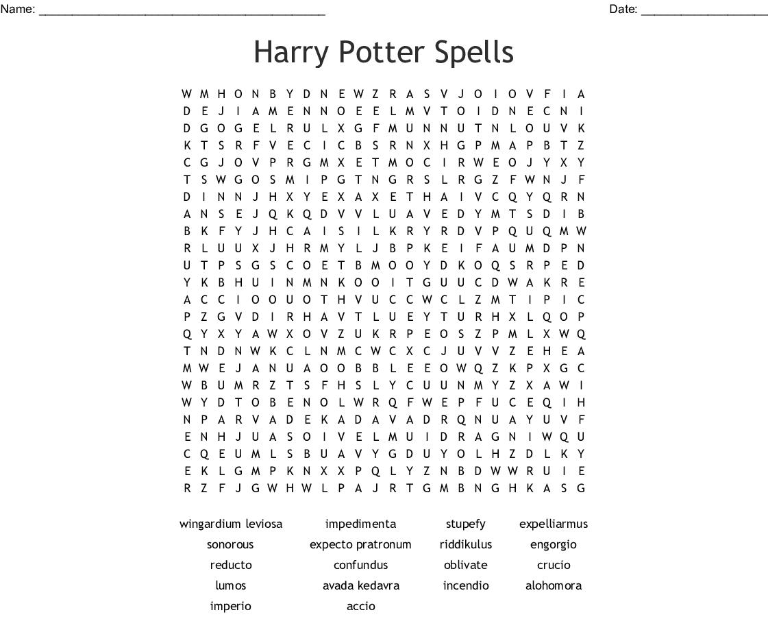 Harry Potter Spells Word Search Wordmint