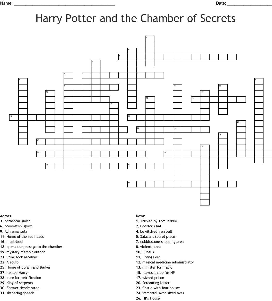 graphic regarding Harry Potter Crossword Puzzle Printable identified as Harry Potter and the Chamber of Techniques Crossword - WordMint