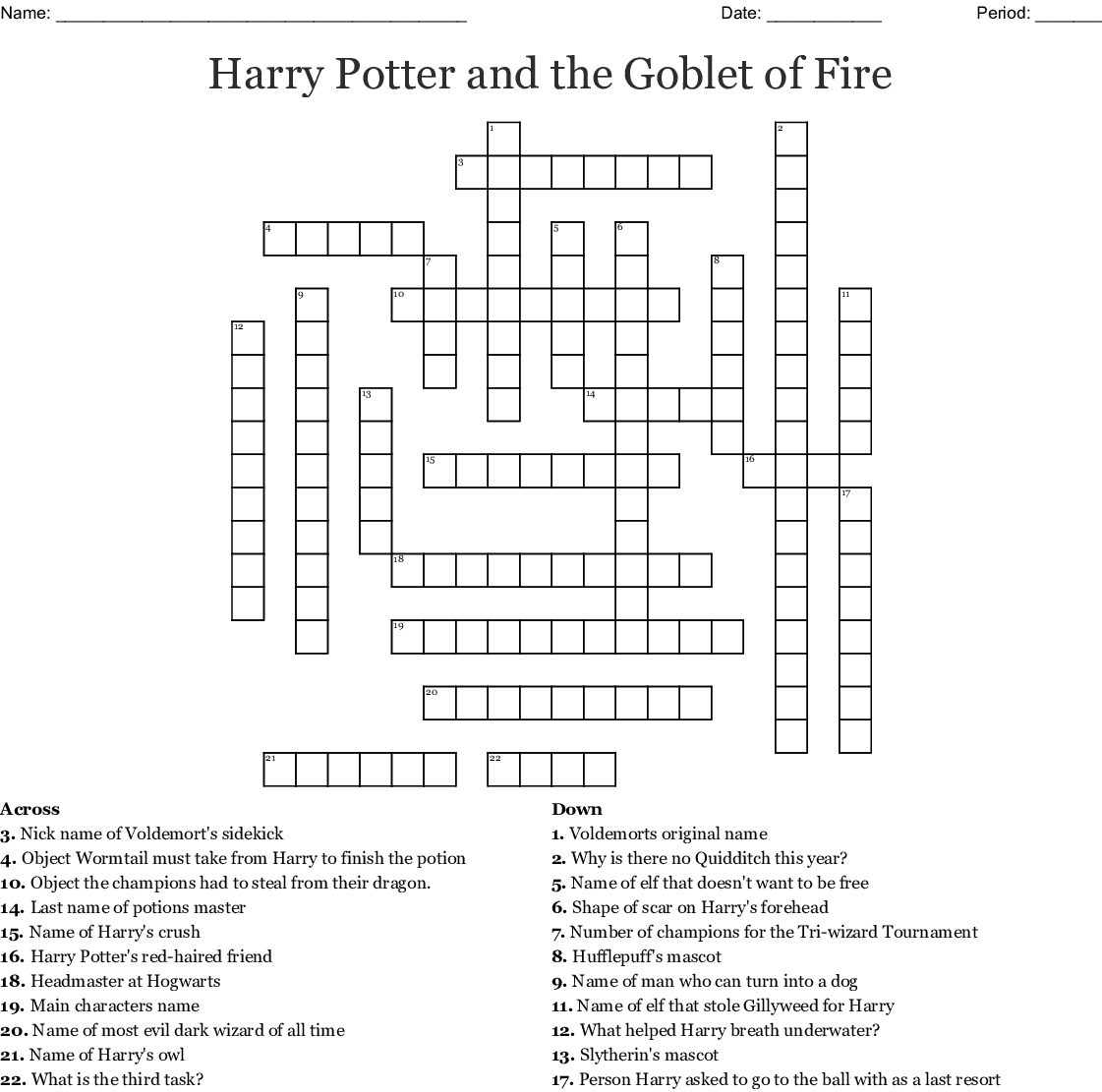 graphic about Harry Potter Crossword Puzzle Printable referred to as Harry Potter and the Goblet of Fireplace Crossword - WordMint