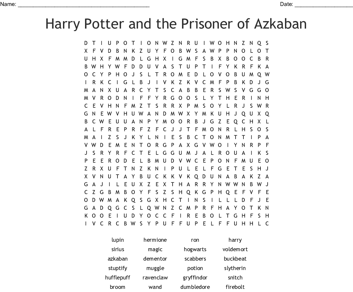 photo relating to Harry Potter Word Search Printable called Mega Harry Potter Term Come across Phrase Glance - WordMint