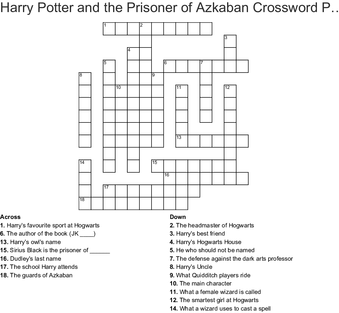 Harry Potter Crossword Wordmint