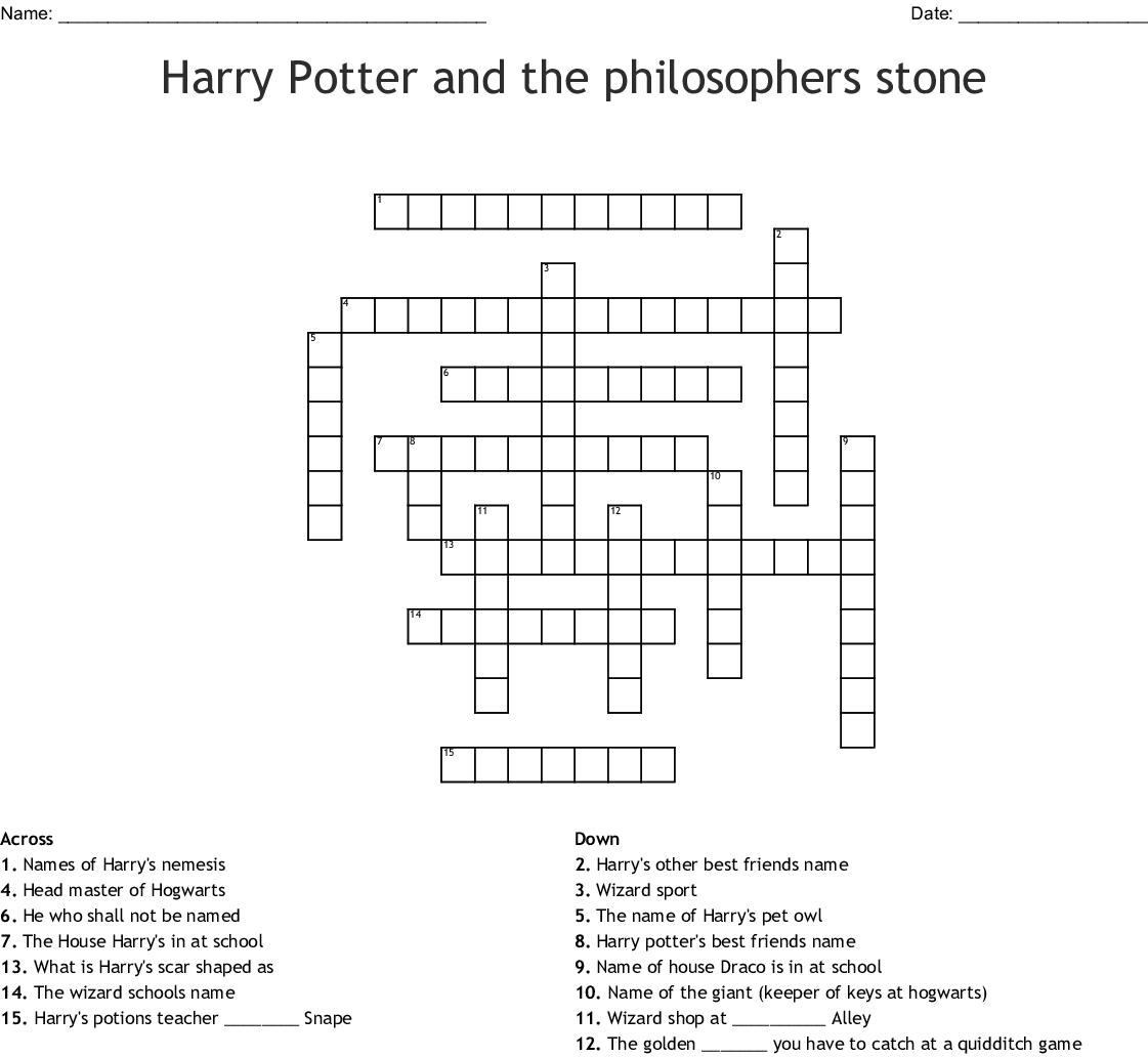 Harry Potter And The Philosophers Stone Crossword Wordmint